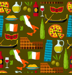 Italy seamless pattern italian symbols and vector