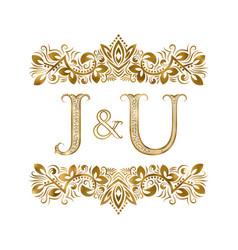 j and u vintage initials logo symbol letters vector image
