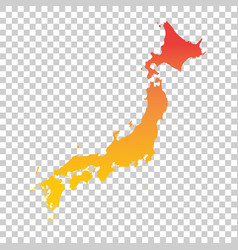 japan map colorful orange vector image