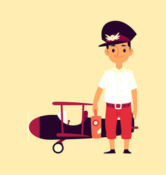 kid boy pilot on background with airplane flat vector image