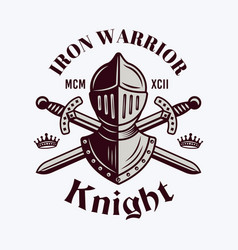 Knight helmet and swords royal emblem vector