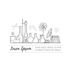 Laboratory equipment set science chemistry vector