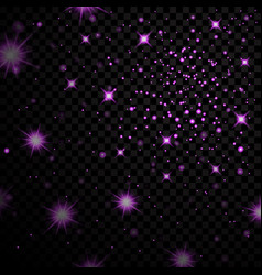 Light stars on black background vector