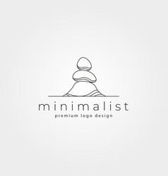 Line art stone logo symbol minimalist design vector