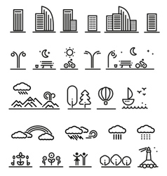Linear Landscape Elements Set vector image