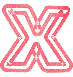 lowercase letter x drawing with Red Marker vector image