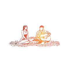 man and woman in love romantic date in park vector image
