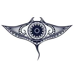 Maori style tattoo pattern in shape of manta ray vector image