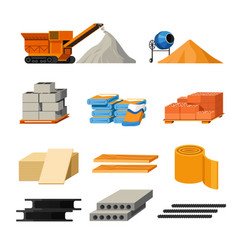 Materials for building and truck or concrete mixer vector