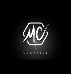 Mc m c brushed letter logo design with creative vector