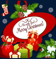 Merry christmas holiday wish greeting card vector