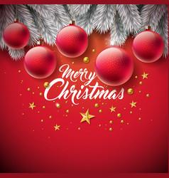 merry christmas with ornamental ball vector image