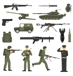 Military army khaki color icons collection vector