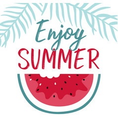 minimal summer with slice watermelon and vector image