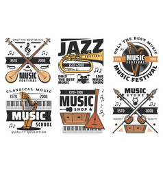 music instruments store live music festival icons vector image