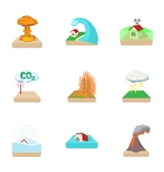 Natural cataclysm icons set cartoon style vector image