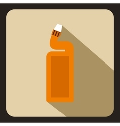 Orange plastic bottle of drain cleaner icon vector image
