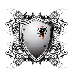 Ornate heraldic shield vector