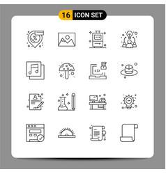 Outline pack 16 universal symbols music vector