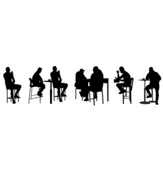 people silhouettes sitting in public bar vector image