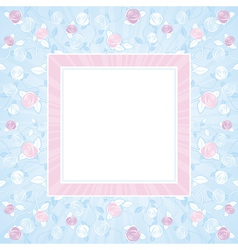 Pink and purple roses on blue square background vector