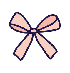 Pink gift bow decoration ribbon icon vector