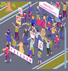 protesting people procession isometric vector image