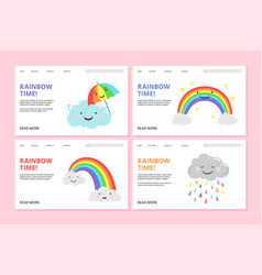 rainbow landing page pride web banners vector image
