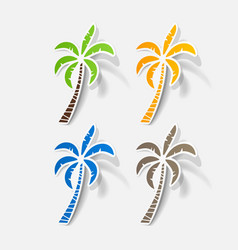 realistic paper sticker palm vector image