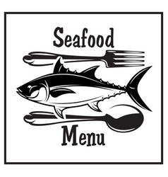 retro emblem for kitchen with fish spoon and fork vector image
