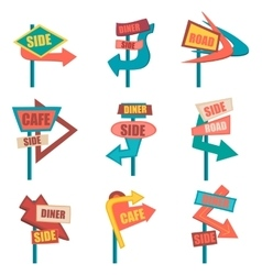 Retro road signs Vintage billboard set vector image