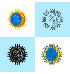 rhinovirus cell icon set in flat and line style vector image