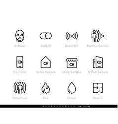 robber detectors and security icons protection vector image