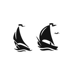sailing boat sailboat symbol logo vector image