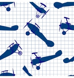 Seamless pattern from ink retro of planes vector image