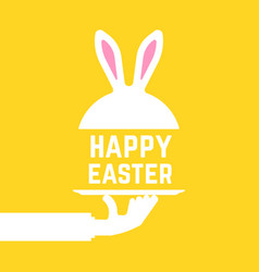 Serving hand with happy easter bunny vector