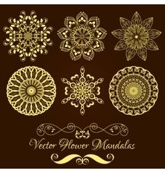 Set from Gold Floral Mandala over dark vector