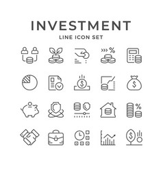 Set line icons of investment vector