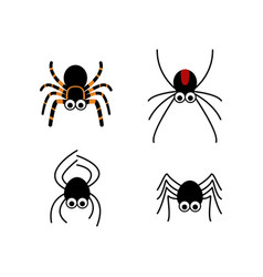set of cute spider in simple style vector image