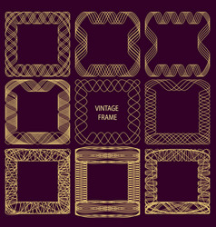 set of frames of fine lines in vintage style vector image