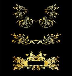 Set Of Golden Vintage Ornaments With Floral Elemen vector