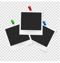 set of realistic photo frames on colored pins vector image