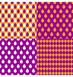 Set Orange Purple Water Drops Background vector image
