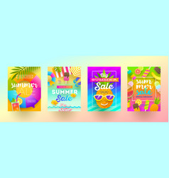 set summer sale promotion banners vector image