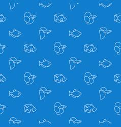 simple aquarium fish blue pattern vector image