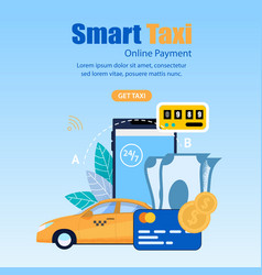 square flat banner smart taxi online payment vector image