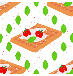 Sweet seamless pattern with viennese waffles on a vector