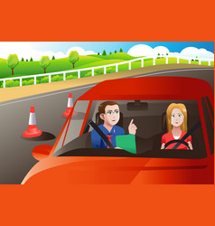 Teenager in a road driving test vector
