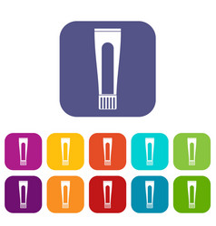 toothpaste tube icons set flat vector image