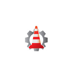 Traffic cone in under construction signal warning vector